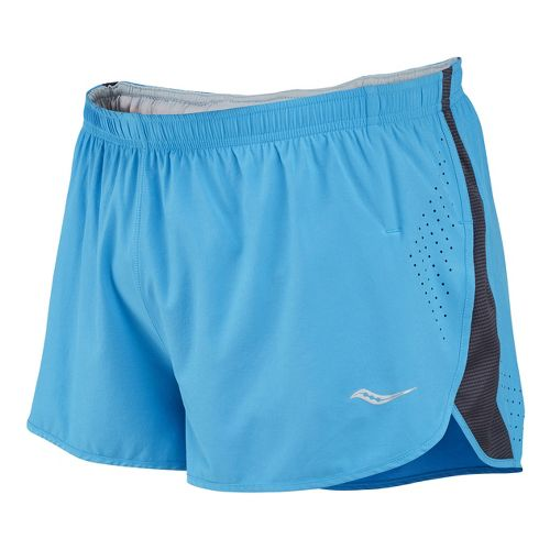 Mens Saucony Inferno Splits Shorts - Blue Fire/Carbon L