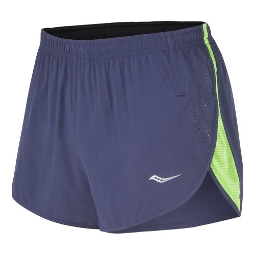 Mens Saucony Inferno Splits Shorts - Navy/Acid Green XXL