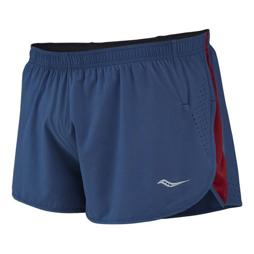 Mens Saucony Inferno Splits Shorts - Tek Navy/Crimson XXL