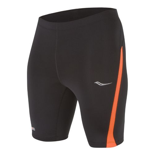 Mens Saucony Inferno Tight Fitted Shorts - Black/Vizipro S