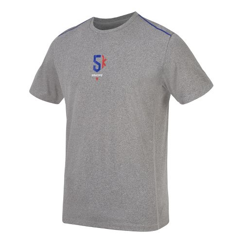 Mens Saucony 5K Milestone Short Sleeve Technical Tops - Heather Grey/Cobalt XL