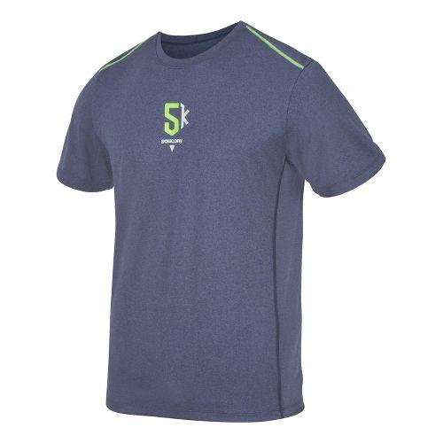 Mens Saucony 5K Milestone Short Sleeve Technical Tops - Navy/Acid Green L
