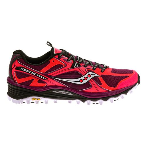Womens Saucony Xodus 5.0 Trail Running Shoe - Vizicoral/Berry 11
