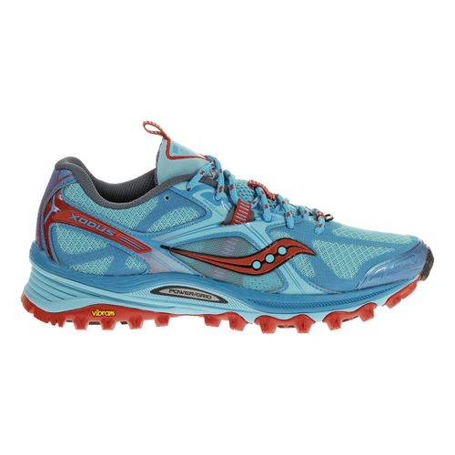 Womens Saucony Xodus 5.0 Trail Running Shoe - Blue/Red 7.5