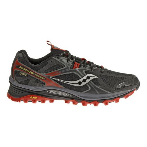 Mens Saucony Xodus 5.0 GTX Trail Running Shoe - Black/Red 10