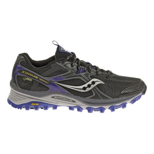 Womens Saucony Xodus 5.0 GTX Trail Running Shoe - Black/Purple 7.5