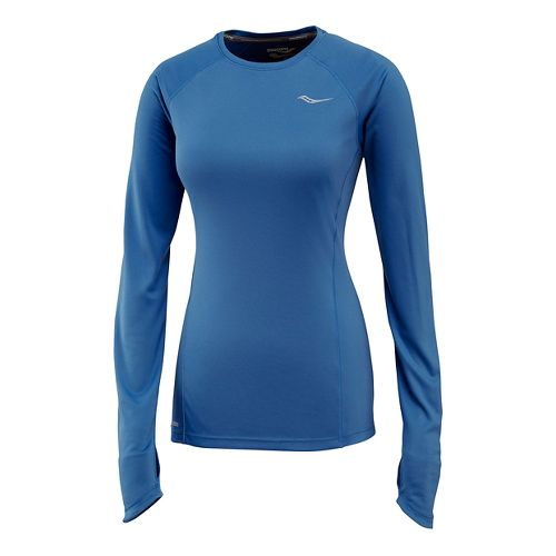 Womens Saucony Velocity Long Sleeve Technical Tops - Marine Blue S