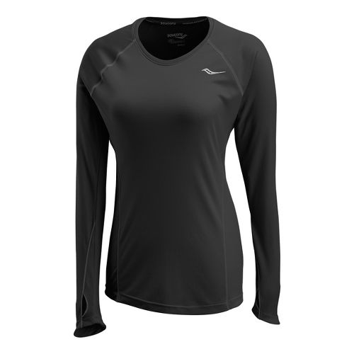Womens Saucony Velocity Long Sleeve No Zip Technical Tops - Black XS