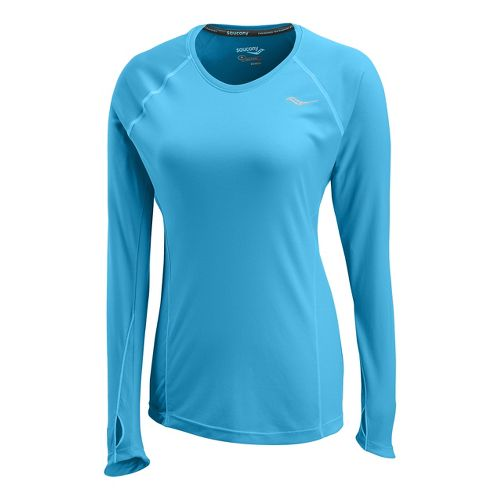 Womens Saucony Velocity Long Sleeve No Zip Technical Tops - Blue/Fire XS