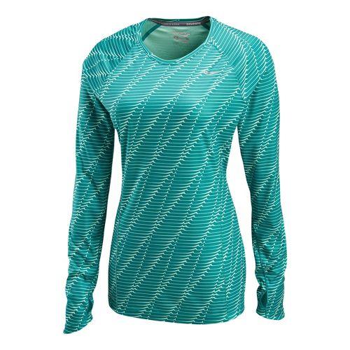 Womens Saucony Velocity Long Sleeve No Zip Technical Tops - Jade Green/Print L