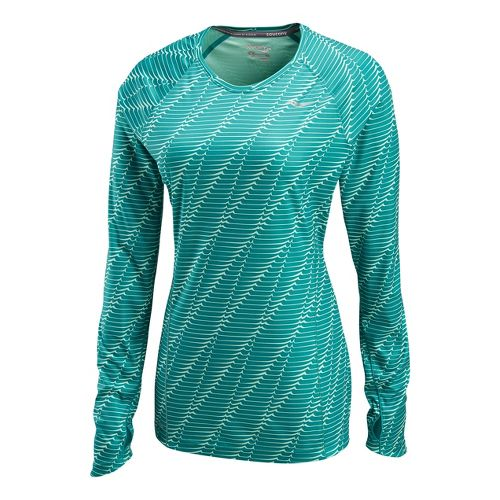 Womens Saucony Velocity Long Sleeve No Zip Technical Tops - Jade Green/Print M