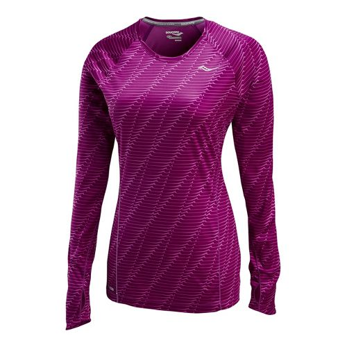 Womens Saucony Velocity Long Sleeve No Zip Technical Tops - Plum Print L