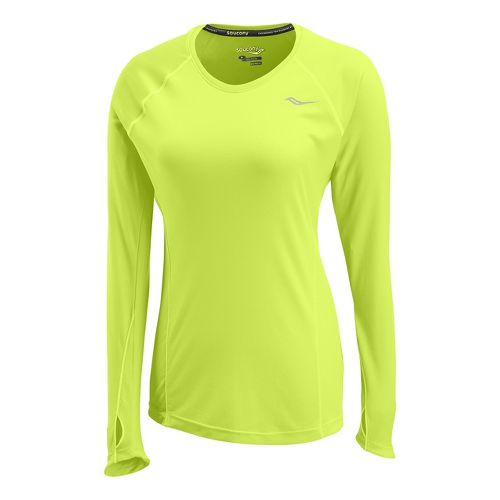 Womens Saucony Velocity Long Sleeve No Zip Technical Tops - Vizipro/Citron L