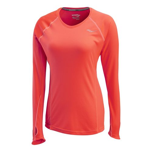 Womens Saucony Velocity Long Sleeve No Zip Technical Tops - Vizipro/Electric XL