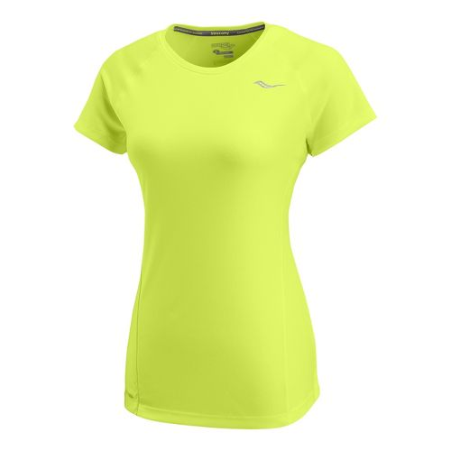 Womens Saucony Velocity Short Sleeve Technical Tops - Vizipro/Citron M