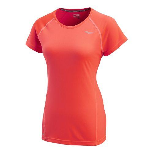 Womens Saucony Velocity Short Sleeve Technical Tops - Vizipro/Electric M