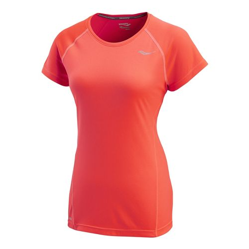 Womens Saucony Velocity Short Sleeve Technical Tops - Vizipro/Electric S