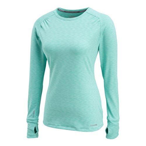 Womens Saucony Swift Long Sleeve No Zip Technical Tops - Sea Green XS