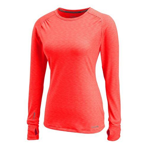 Womens Saucony Swift Long Sleeve No Zip Technical Tops - Vizipro/Electric XS