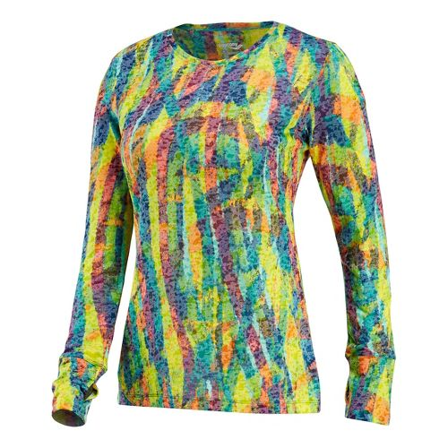 Womens Saucony Daybreak Long Sleeve No Zip Technical Tops - Multi Print S