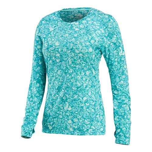 Womens Saucony Daybreak Long Sleeve No Zip Technical Tops - Sea Green/Print L