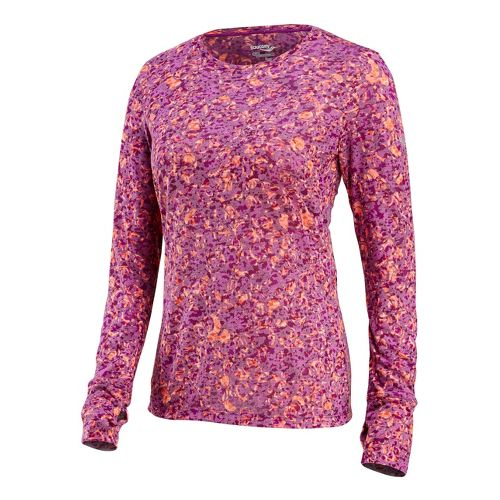 Womens Saucony Daybreak Long Sleeve No Zip Technical Tops - Vizipro Electric/Print M