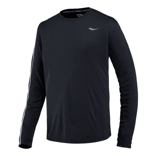 Mens Saucony Velocity Long Sleeve No Zip Technical Tops - Black XL
