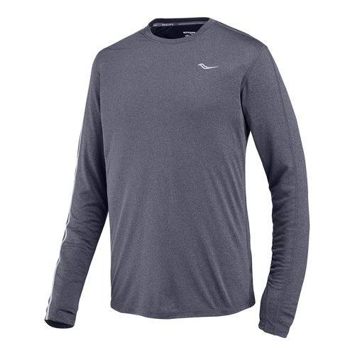 Mens Saucony Velocity Long Sleeve No Zip Technical Tops - Carbon Heather XL