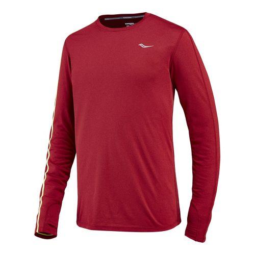 Mens Saucony Velocity Long Sleeve No Zip Technical Tops - Crimson/Heather XL