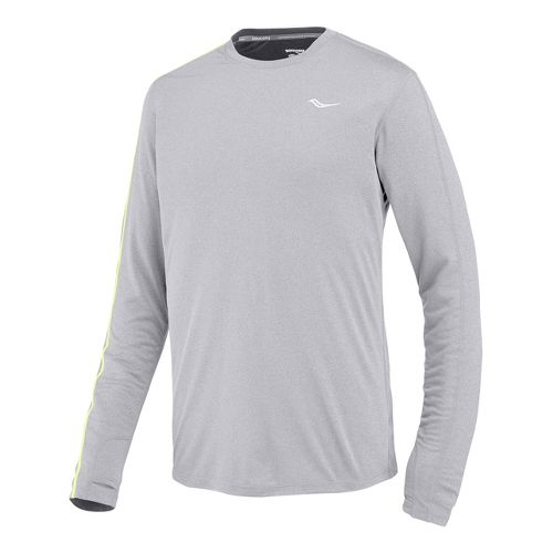Mens Saucony Velocity Long Sleeve No Zip Technical Tops - Heather Grey XL