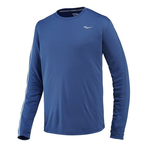 Mens Saucony Velocity Long Sleeve No Zip Technical Tops - Tek Navy XXL