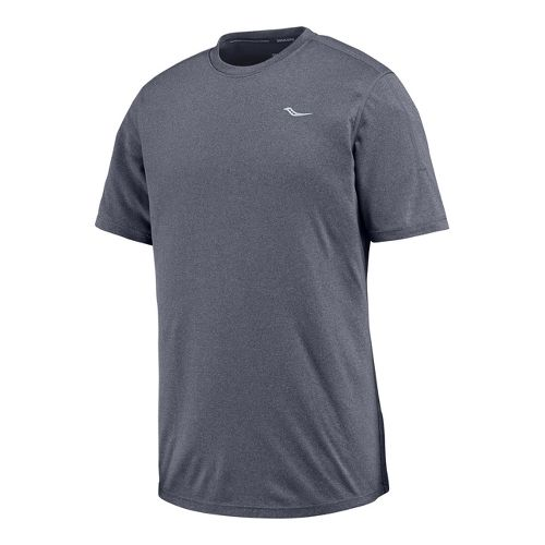 Mens Saucony Velocity Short Sleeve Technical Tops - Carbon Heather L