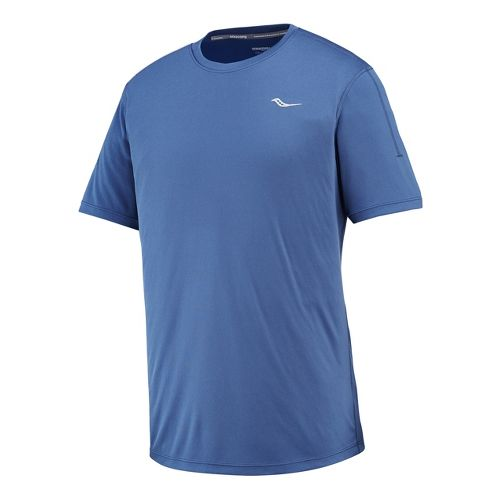 Mens Saucony Velocity Short Sleeve Technical Tops - Tek Navy M