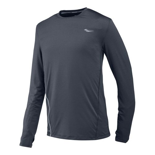 Mens Saucony Premium Tech Long Sleeve No Zip Technical Tops - Carbon S