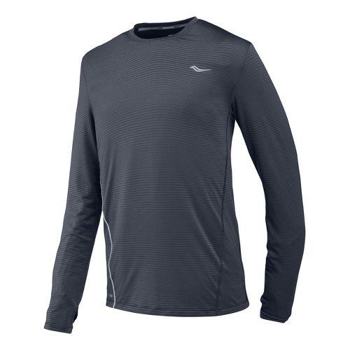Mens Saucony Premium Tech Long Sleeve No Zip Technical Tops - Carbon XL