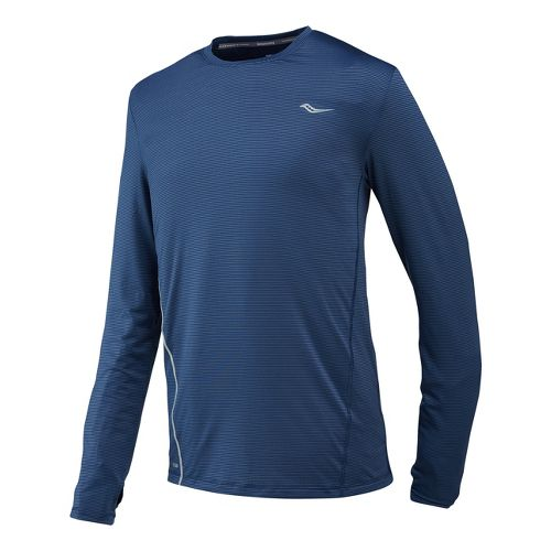 Mens Saucony Premium Tech Long Sleeve No Zip Technical Tops - Tek Navy XXL