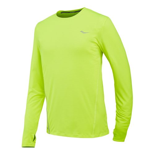Mens Saucony Premium Tech Long Sleeve No Zip Technical Tops - Vizipro Citron S