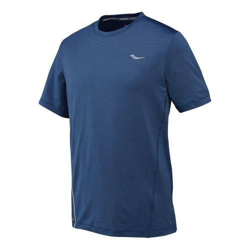 Mens Saucony Premium Tech Short Sleeve Technical Tops - Tek Navy M
