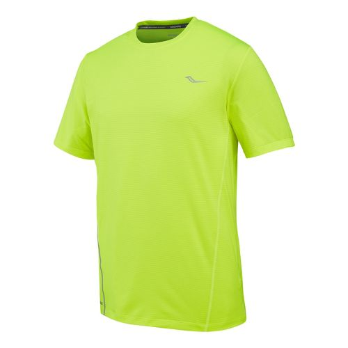 Mens Saucony Premium Tech Short Sleeve Technical Tops - Vizipro Citron S