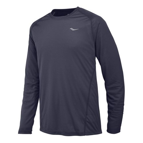Mens Saucony Hydralite Long Sleeve No Zip Technical Tops - Carbon L