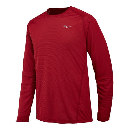 Mens Saucony Hydralite Long Sleeve No Zip Technical Tops - Crimson S