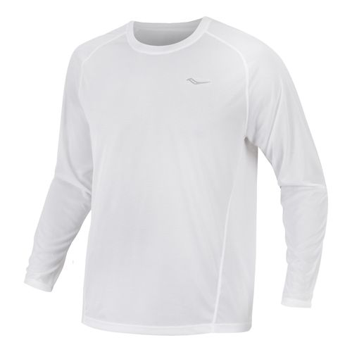 Mens Saucony Hydralite Long Sleeve No Zip Technical Tops - White XL