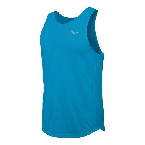 Mens Saucony Hydralite Tank Sleeveless Technical Tops - Blue Fire L