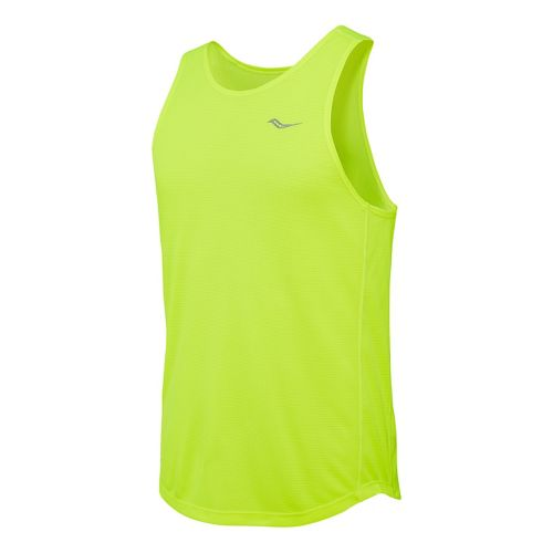 Mens Saucony Hydralite Tank Sleeveless Technical Tops - Vizipro Citron S