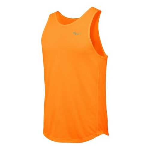 Mens Saucony Hydralite Tank Sleeveless Technical Tops - Vizipro Orange XXL