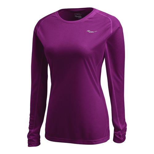 Womens Saucony Hydralite Long Sleeve No Zip Technical Tops - Plum XL