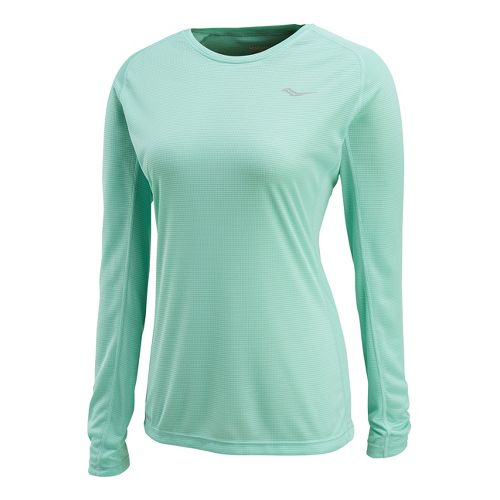 Womens Saucony Hydralite Long Sleeve No Zip Technical Tops - Sea Green L