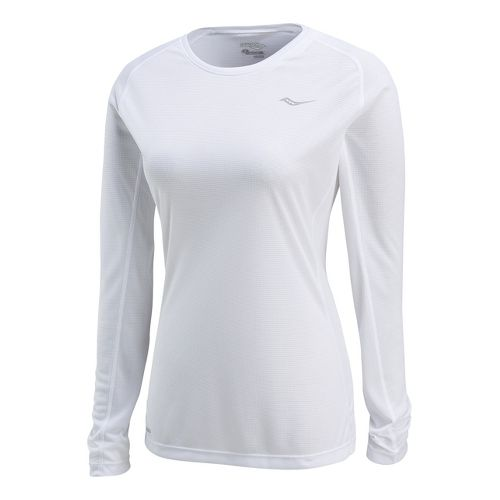 Womens Saucony Hydralite Long Sleeve No Zip Technical Tops - White XL