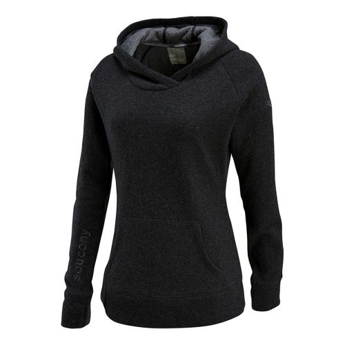 Womens Saucony Ridge Runner Hoody Long Sleeve No Zip Technical Tops - Black L