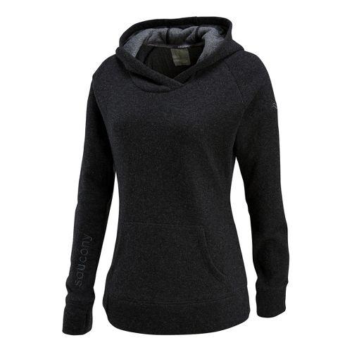 Womens Saucony Ridge Runner Hoody Long Sleeve No Zip Technical Tops - Black XS